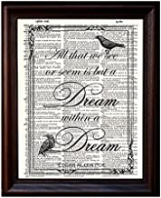 Dictionary Art Print - Edgar Allan Poe Quote Printed on Recycled Vintage Dictionary Paper - 8