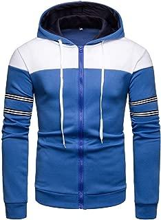 Sudaderas con Capucha Hombres Chaqueta Deportiva Manga Larga Body Fit Blusa Patchwork Color Flexibilidad Cremallera Camisa a Rayas