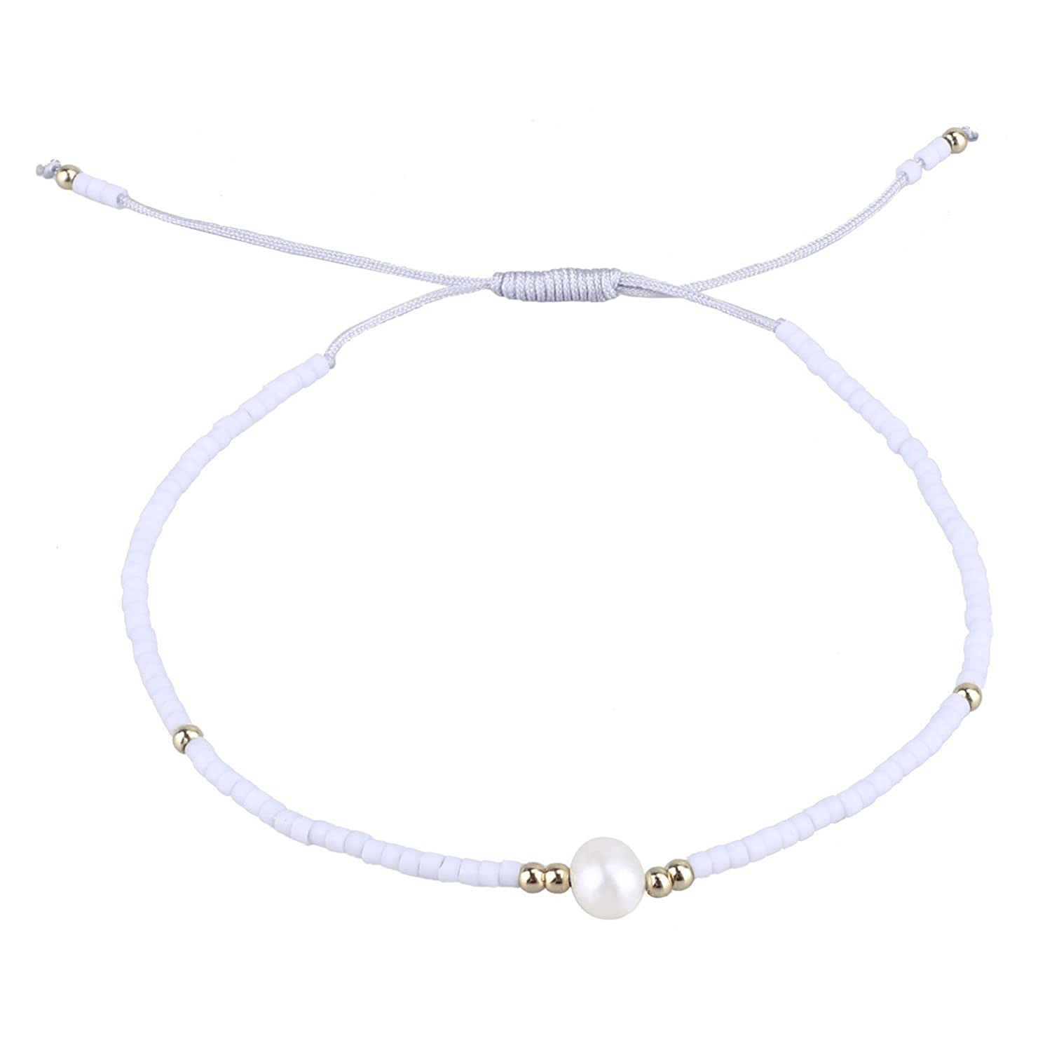C·QUAN CHI Woven Strand Bracelet Women String Natural Pearl Sead Beaded Wax Rope Handmade Braided Adjustable Bracelet Women Gifts