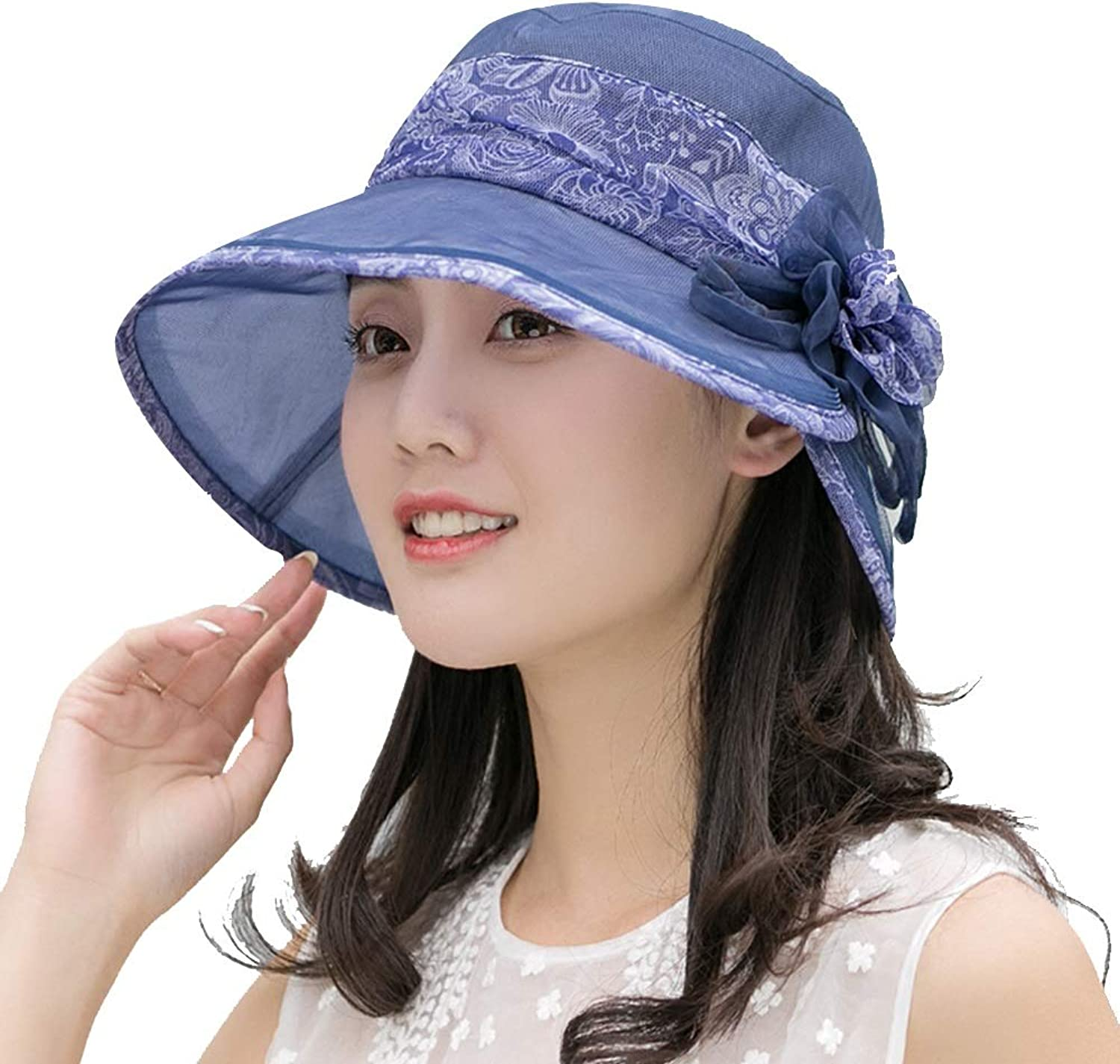 Jia Jia Sun hat  Summer Women's Lightweight Breathable Holiday Sunscreen Folding Fashion Wild Visor hat Big Brim of hat Beach hat Silk Silk hat Summer Outdoor Sun hat (color   Navy bluee)