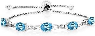 925 Sterling Silver Swiss Blue Topaz and Diamond Adjustable Tennis Bracelet 4.25 cttw Gemstone Birthstone