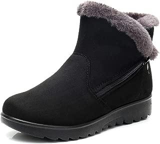 DADAWEN Women's Winter Warm Side Zipper Snow Boots
