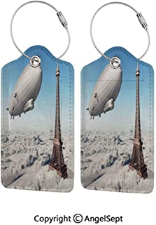 Waterproof PU Leather Luggage Tags Options Soft and Comfortable No Scratching,Zeppelin and Eiffel Tower over Clouds Sky Dreamy Famous Place on Earth Picture 4 PCS Blue Grey,for Baggage/Suitcases