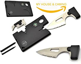 Black pocket Credit Card knife Companion with Lens/Compass ToolLogic 11 IN 1. Multi Tool - MY HOUSE & CAMPING