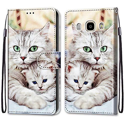 i-Case Funda para Samsung J7 2016 Protectora Piel PU Case Cover Carcasa Patrón Pintado Caja del Teléfono Billetera Protector con Ranuras Soporte Plegable para Samsung Galaxy J7 2016,Gatito Grande