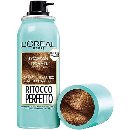 L'Oréal Paris Spray Radici Ritocco Perfetto, Colorazione Ricrescita, Copre i Capelli Bianchi e Dura 1 Shampoo, Castano Dorato, 75 ml