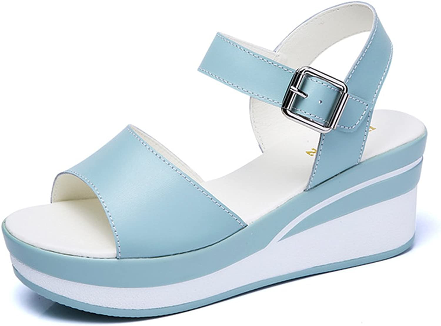 Female Sandals shoes Wedge Platform Leather Ladies Buckle High Heels Weave Strap Sandals Women
