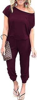 Women's Jumpsuits - Crewneck One Off Shoulder Short Sleeve Elastic Waist Romper Playsuits with Pockets