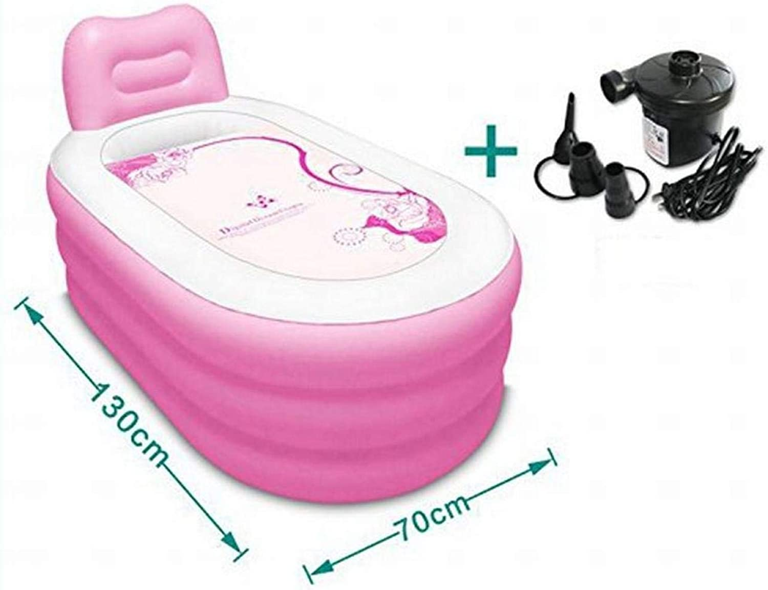 Bathtubs Inflatable, Thicker Adults Tub Fold Plastic bluee Pink 130  70Cm 3 Kg Folding, Convenient Pool,Pink,1