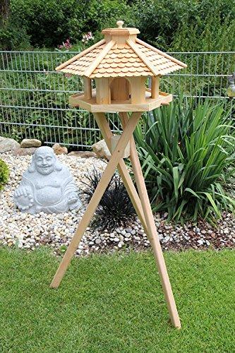 Vogelhaus ( V52 mit S2 Vogelhäuschen aus Holz Top Design, großes Futtersilo
