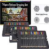 Colored Pencils   Adult Coloring Pencils   Includes: 72 Artist Pencils + Drawing pad + Pencil Sharpener + Vinyl eraser  Soft Colored Pencils for Adult Coloring