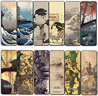 Creanoso Japanese Geisha Theme Classic Art Paintings Bookmarks (60-Pack) – Inspirational Art Impressions Bookmarker Cards – Premium Gift for Art Collectors, Men & Women, Adults, Teens - Rewards Gifts