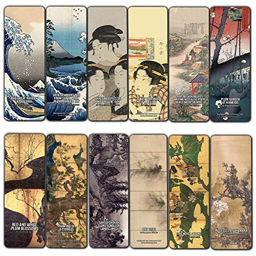 Creanoso Japanese Geisha Theme Classic Art Paintings Bookmarks (12-Pack) - Awesome Bookmarks for Men, Women, Teens – Six Bulk Assorted Bookmarks Designs – Premium Design Gifts for Bookworms