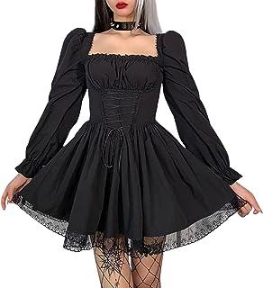 Women's Gothic Punk Mini Dresses Vintage Puff SleeveLace Patchwork A Line Swing Goth Lolita Dress Black