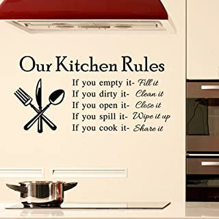 DNVEN 23 inches x 11 inches DIY Our Kitchen Rules Quotes Family Graphic Handmade Wall Decals Stickers Removable Vinyl Arts for Children's Day Bedrooms Family Playroom Classroom