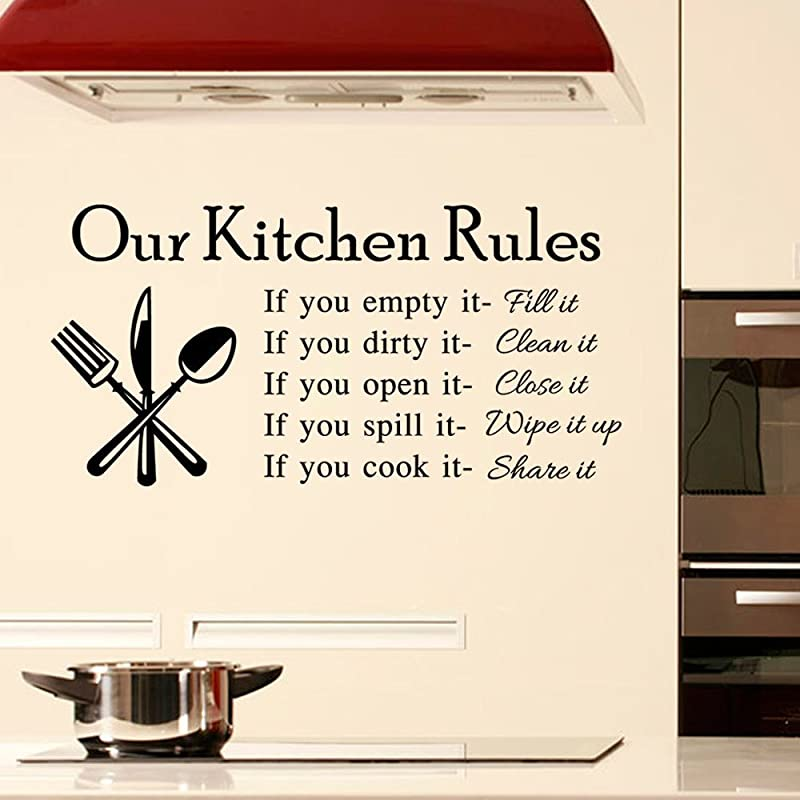 DNVEN 23 Inches X 11 Inches DIY Our Kitchen Rules Quotes Family Graphic Handmade Wall Decals Stickers Removable Vinyl Arts For Children S Day Bedrooms Family Playroom Classroom