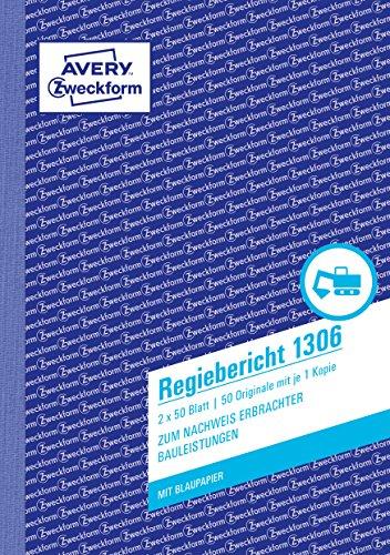 AVERY Zweckform 1306 Regiebericht (A5, mit 2 Blatt Blaupapier, von Rechtsexperten geprüft, für Deutschland/Österreich zur Dokumentation von Arbeitsleistung und Materialverbrauch, 2x50 Blatt) weiß/gelb