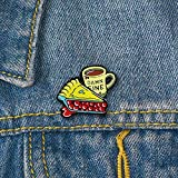 Brooch Pin, gLoaSublim Cartoon Enamel Cake Coffee Cup Badge Collar Lapel Brooch Pin Clothes Jewelry - Yellow