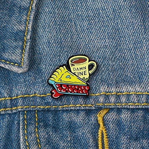 Anstecknadel für Männer und Frauen, Cartoon-Emaille, Kuchen, Kaffeetasse, Anstecknadel, Anstecknadel, Kleidung, Schmuck – Gelb