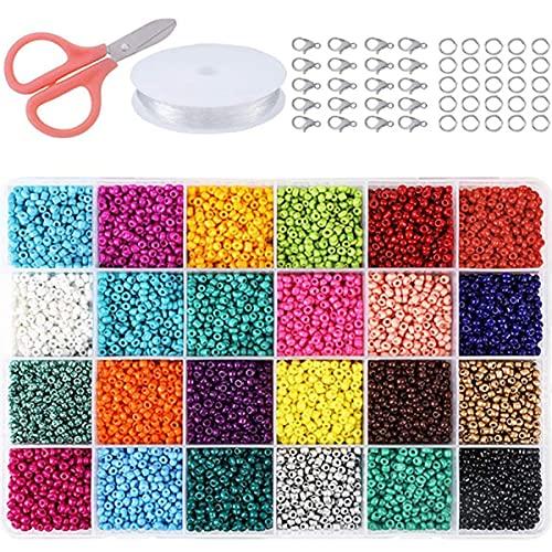 CACAR 24000pcs 2mm perline di vetro per bracciali collana anello gioielli che fanno forniture kit fai da te arte artigianale per ragazze (24 colori)