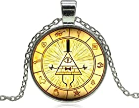 Onlyfo Glass Bill Cipher Zodiac Gravity Falls Time Gem Cabochon Pendant Necklace with Jewelry Box,Gravity Falls Necklace for Boys, Girls