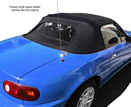 Compatible With Mazda Miata Convertible Top 2 Piece Zipper Factory Style With Plastic window 1990-2005 Black