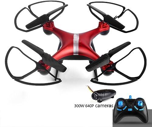 KYOKIM Fernbedienung 4-Achsen-Drohne WiFi Echtzeit-Bildübertragung Gesteuert Werden 50-Megapixel-Kamera,rot-3Batteries