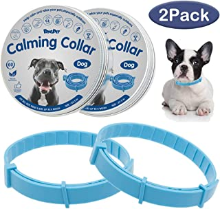 BINGPET Calming Collar for Dogs & Cats 2 Pack - 60 Days Effective Reduce Anxiety Waterproof Natural Pheromone Collar for Small Medium Large Dog Breed, Adjustable Up to 24.5 Inches