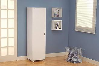 خزانة خشبية باب واحد للتخزين من ديتاليا، لون ابيض - ارتفاع 162 سم × عرض 44 سم × عمق 44 سم