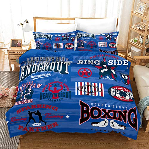 Duvet Cover Single bed Boxing Doodle Printed Polyester with Zipper Closure Bedding Easy Care Anti-Allergic Soft Smooth with Pillow Cases 3 pcs set, Blue