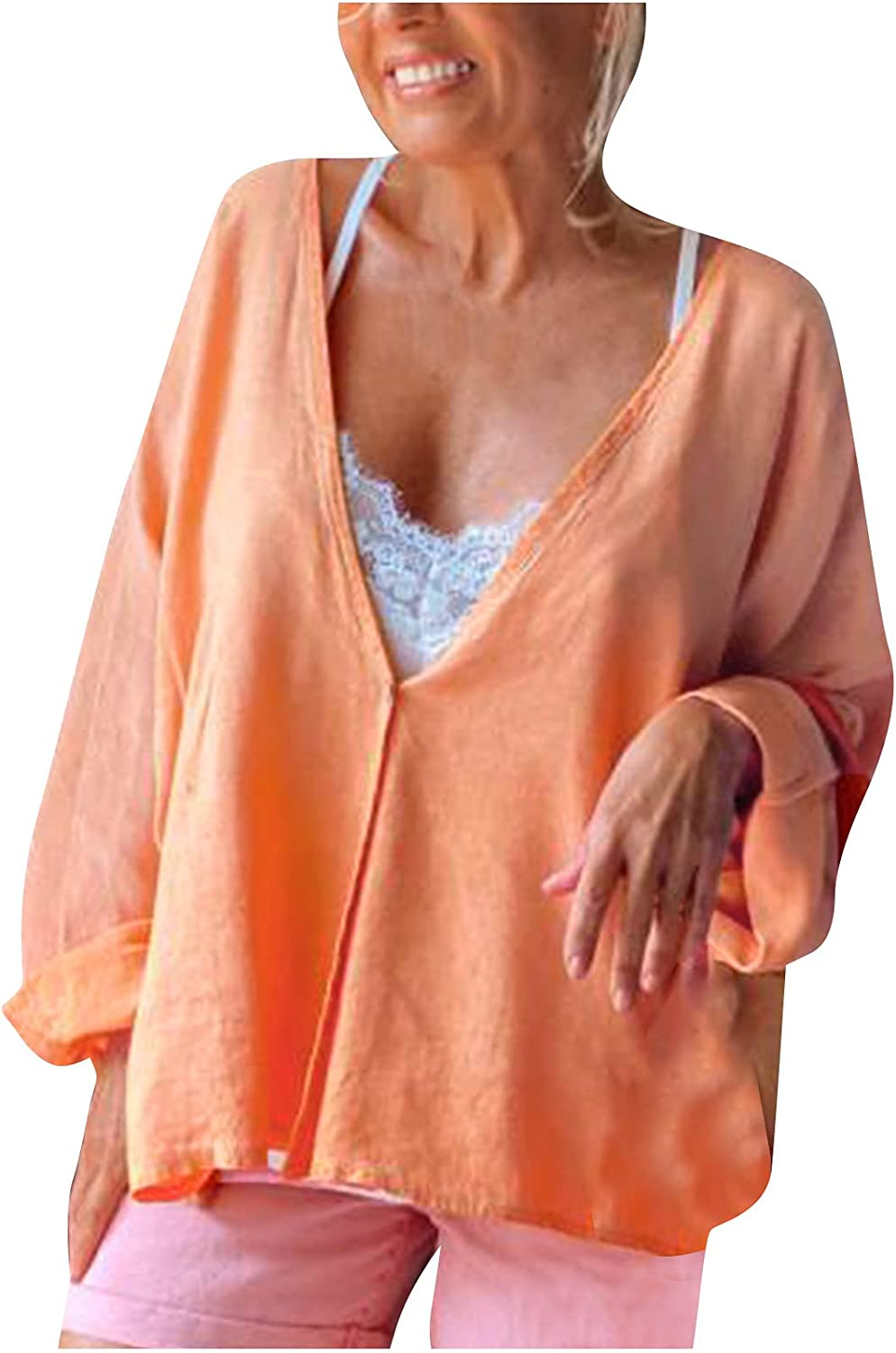 Women Summer Autumn Casual Long Sleeve Blouse Tops Solid V-Neck Cardigan Shirts Comfortable Loose Tunic Tees