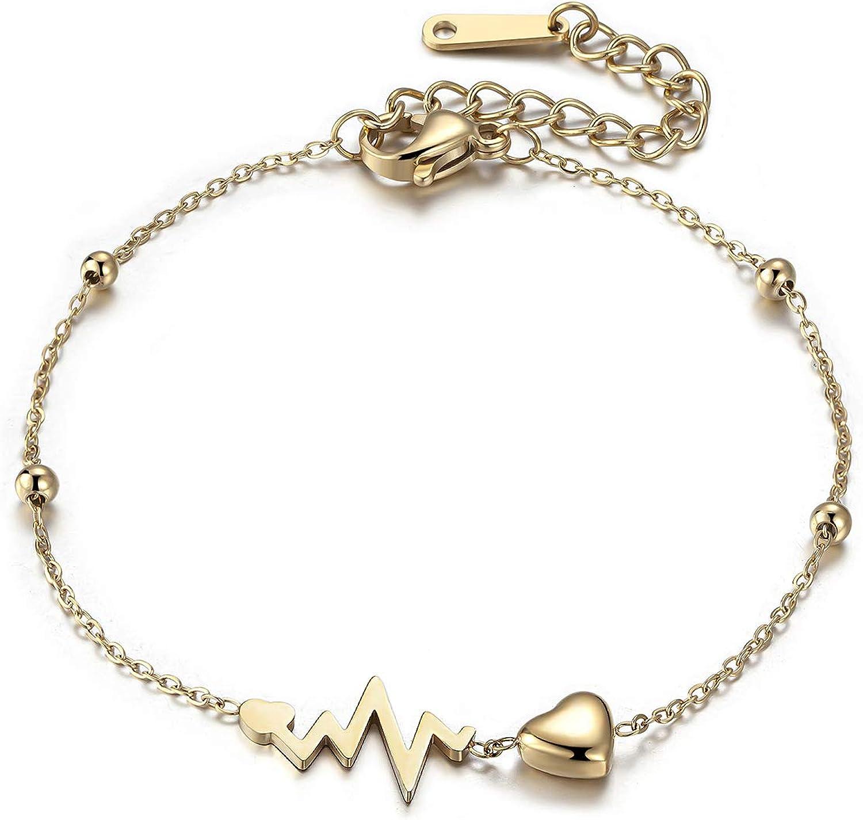ivyAnan Jewellery Bracelet ECG Heart Beaded for New York Mall 2021 spring and summer new Steel Stainless