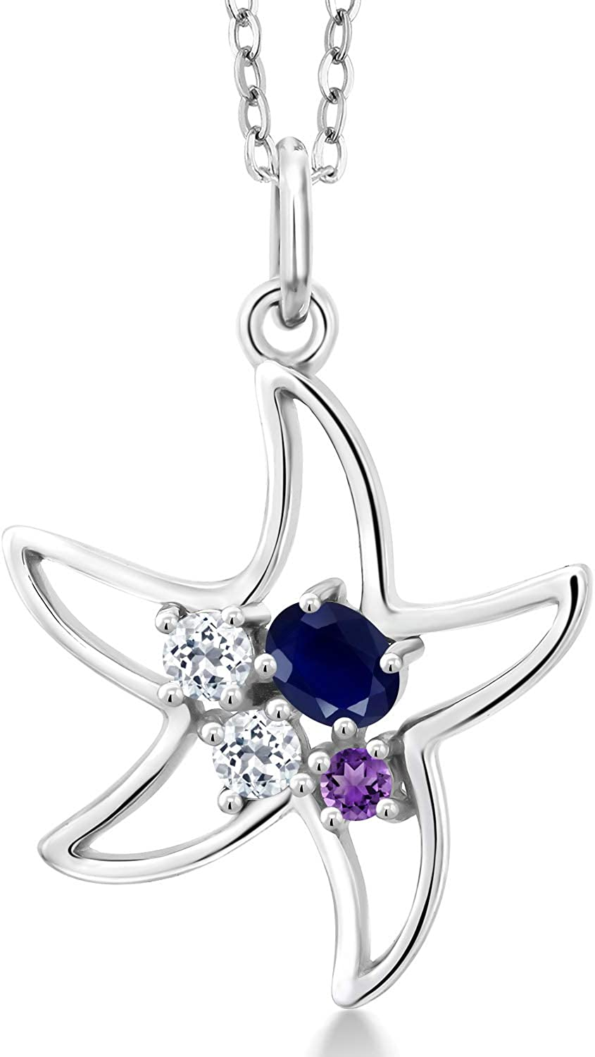 Gem Stone King Outstanding 925 Sterling Silver Max 65% OFF Sapphire and Blue Topaz White