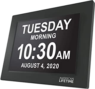 QRY 12 Inch Day Clock Extra Large Impaired Vision Digital Clock With Battery Backup And 5 Alarm Options, Black QRY