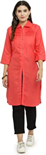 INDIBELLE Pink Cotton Pathani Style Formal Kurta with Ankle Length Trouser