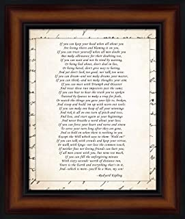 If - Script Border by Rudyard Kipling Framed Art Print Wall Picture, Brown Traditional Frame, 11 x 13 inches