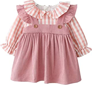 Xifamniy Newborn Girls Autumn 2pcs Princess Dress Plaid Trendy Corduroy Dress