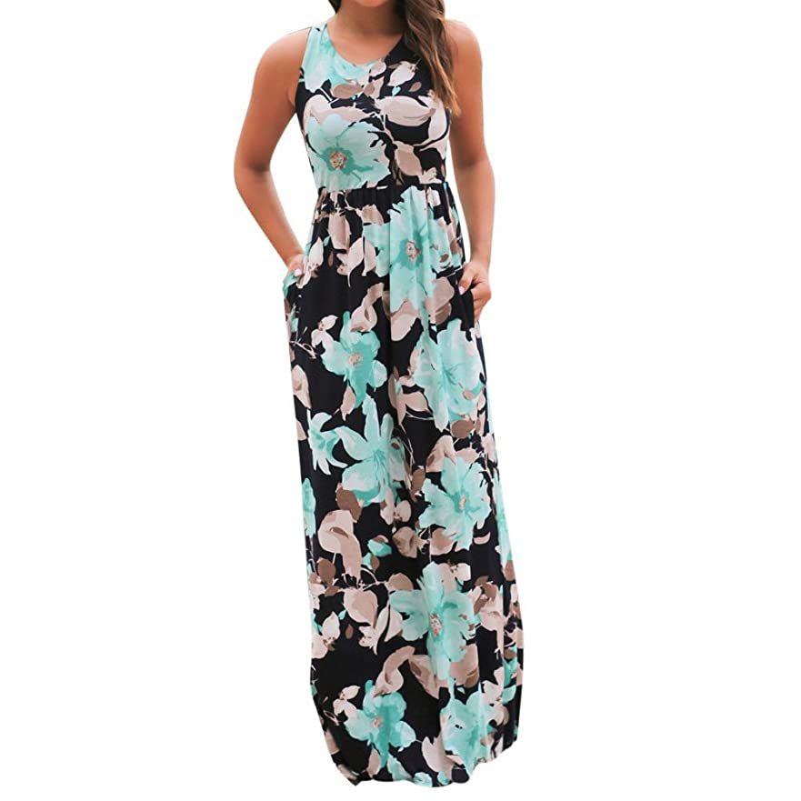 アノイめる知的SakuraBest Women Sleeveless Floral Print Maxi Long Dress with Pockets (S, Blue)