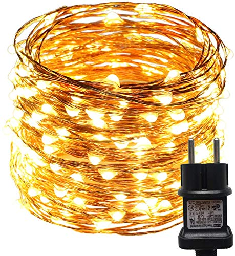 ACDE 2 Piezas Guirnaldas Luces, 10M/100 LED Cadena de Luces Impermeable with EU Enchufe, Decoraci¨n para Navidad Jard¨ªn Partido Boda - Blanco C¨¢lid