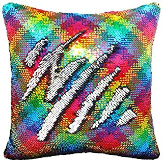 Play Tailor Sequin Pillow Case Flip Sequin Pillow Cover Throw Cushion Cover 16x16in, Silver and Rainbow Wave