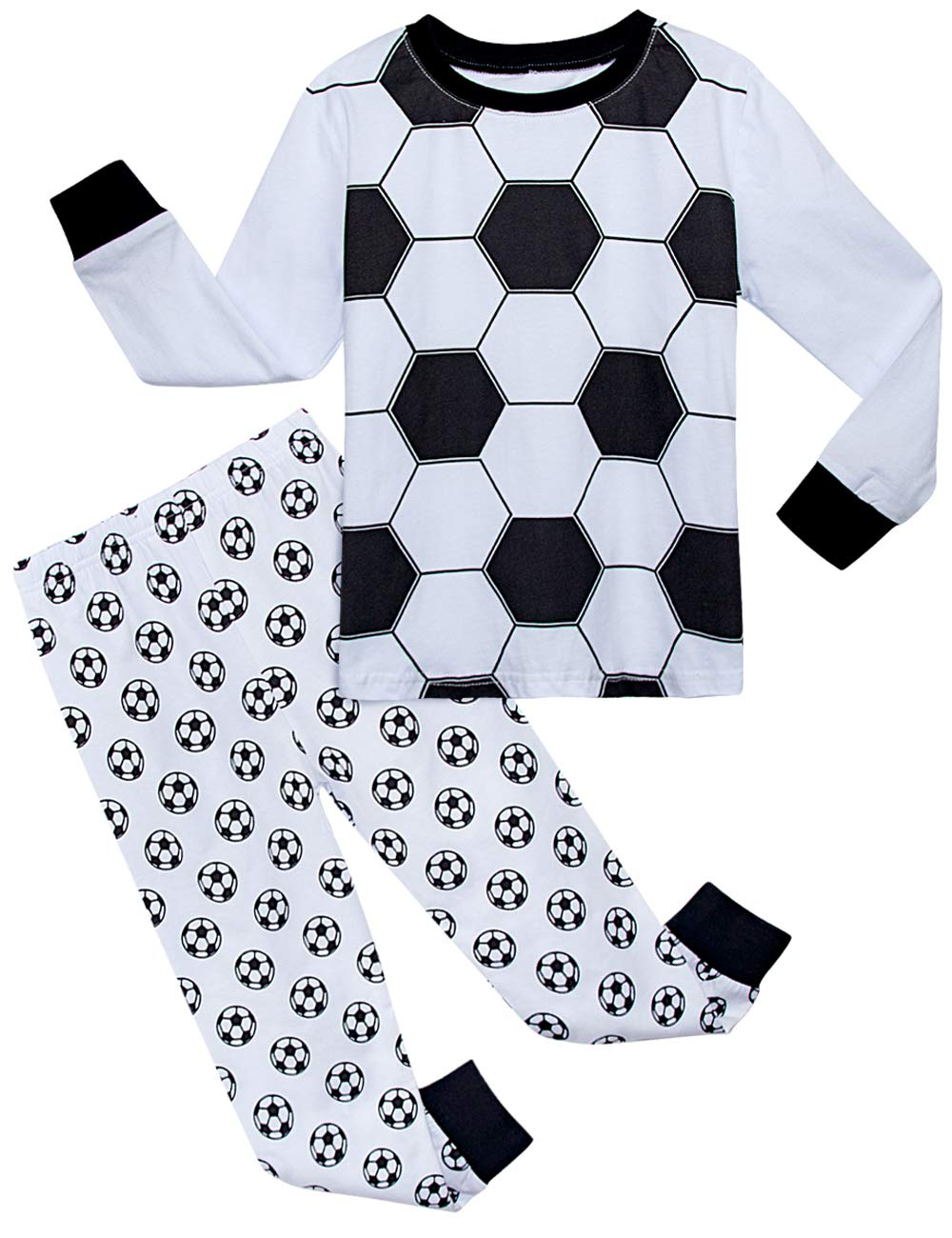 Image of Cotton Long Sleeve Soccer Pajamas for Boys