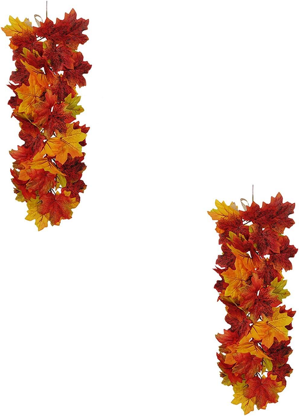 Brand new RIABXZ 2pcs Fall Super intense SALE Maple Leaf Hanging Garland Vine Artif