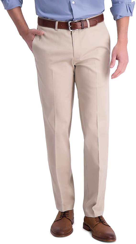New Mens Haggar Flex Waistband Straight Fit Dress Khaki Pants Retail 32.99