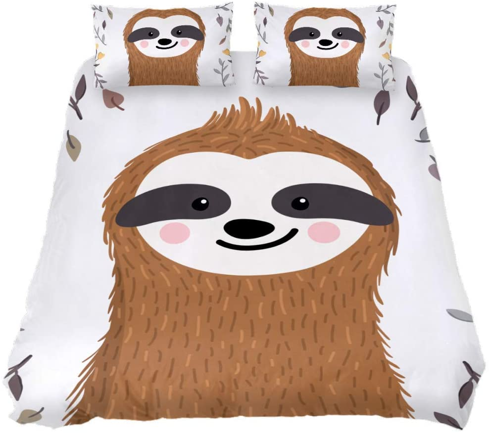 Shiiny Coverlet Set Cute OFFicial Challenge the lowest price store Sloth Among Leaves 3 and Piece Flowers