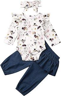 Geagodelia Babykleidung Set Baby Mädchen Langarm Body Strampler  Dunkelblau Hose  Stirnband Neugeborene Kleinkinder Warme Babyset Kleidung