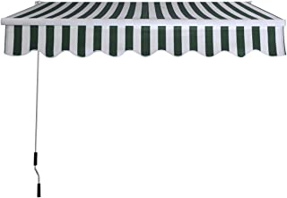 Goplus Manual Patio 8.2'×6.5' Retractable Deck Awning Sunshade Shelter Canopy Outdoor (Stripe Green & White)