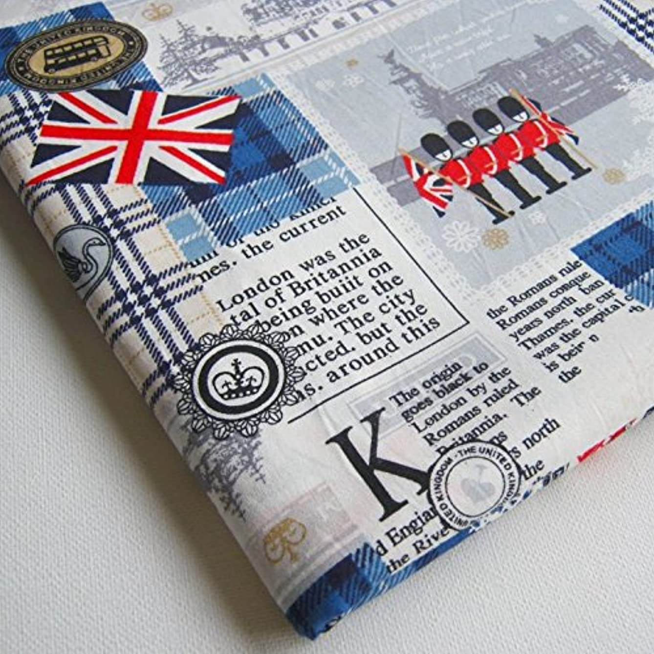 London UK Britain Cotton Fabric, England Attraction United Kingdom Union Jack, Big Ben on White 36 by 36-Inch Wide (1 Yard) (CT161)