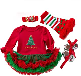 3b054f706 4PCS Newborn Baby Girls Christmas Set,Letter Print Princess Tutu Dress +