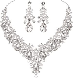 Bridal Rhinestone Simulated Pearl Necklace Earring Jewelry Set for Brides Wedding Party Dress
