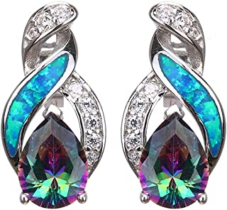 Blue Australian Opal Earrings for Women Sterling Silver Stud Earring Yellow Gold Plated Mystic Topaz Sapphire Women Jewelry